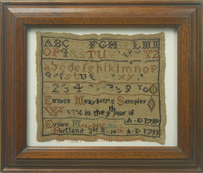 Textiles Antique Sampler Of Eunice Maeyberry Mayberry