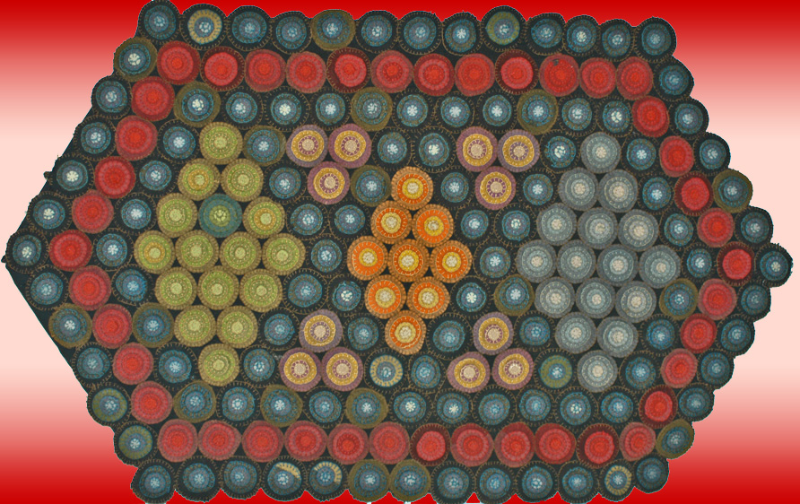 outstanding antique penny rug