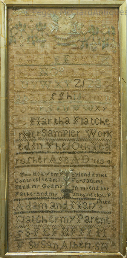 Textiles - Antique Textile, 1834 Sampler of 10 year old