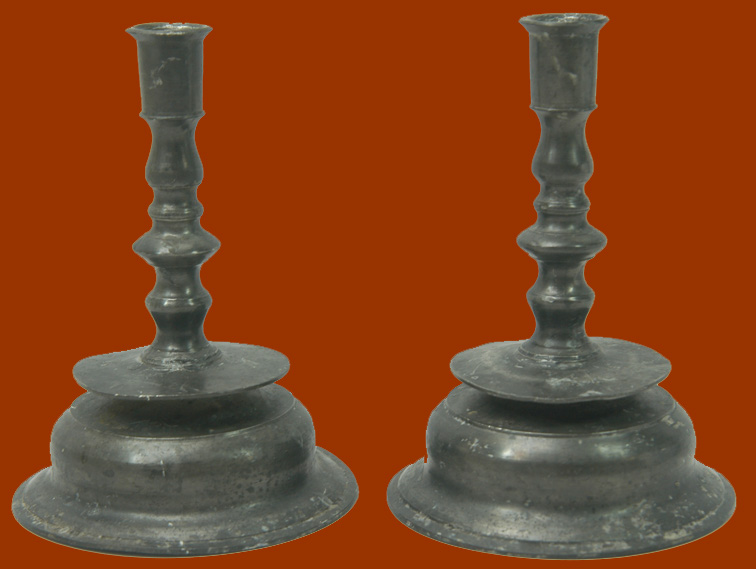 Pewter Antique Pair Of 17th Century Low Bell